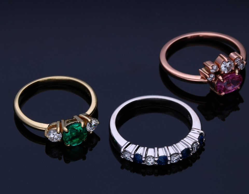 White, Rose & Standard Gold Rings with Gemstones